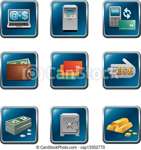 banking buttons icon set - csp13352770