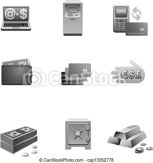 banking icon set grayscale - csp13352778