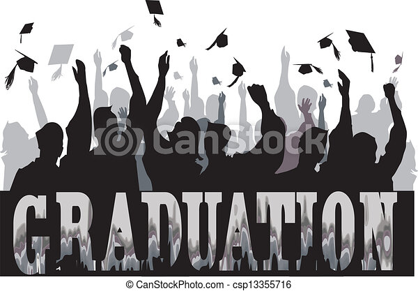 Graduation celebration in silhouette - csp13355716