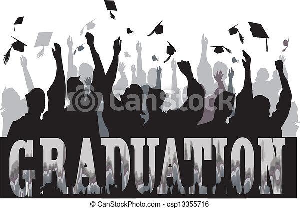 Graduation celebration in silhouette - csp13355716