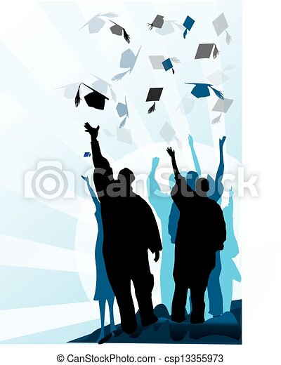 Graduation mortar and diploma - csp13355973