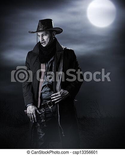 guapo, hombre, vaquero, disfraz - csp13356601