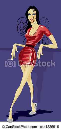 Fashion Figure in Latex dress - csp1335916