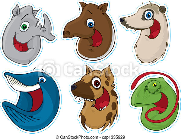 Smiling Face Fridge Magnet/Stickers #7 (Animals) - csp1335929