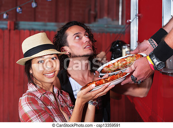 Cute Woman with Pizza Order - csp13359591