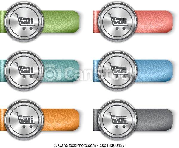 Vektor online kaufmannsladen metallisch web elemente auf bunte