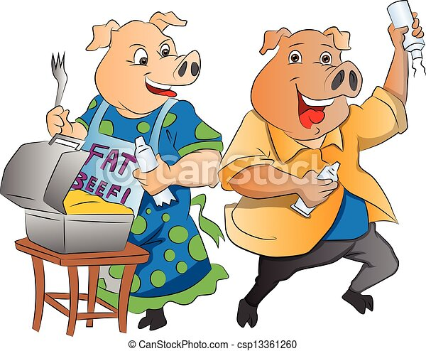 Two Pigs, illustration - csp13361260