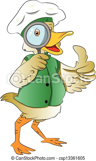 Clipart vecteur de canard regarder par magnifier verre - Illustration canard ...