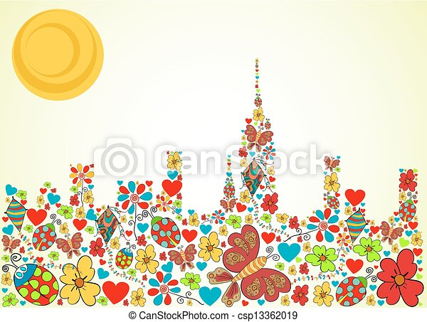 Spring time city skyline background - csp13362019