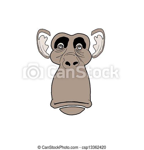 Sad Monkey Face Drawing