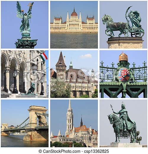 Budapest landmarks collage - csp13362825