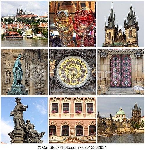Prague landmarks collage - csp13362831