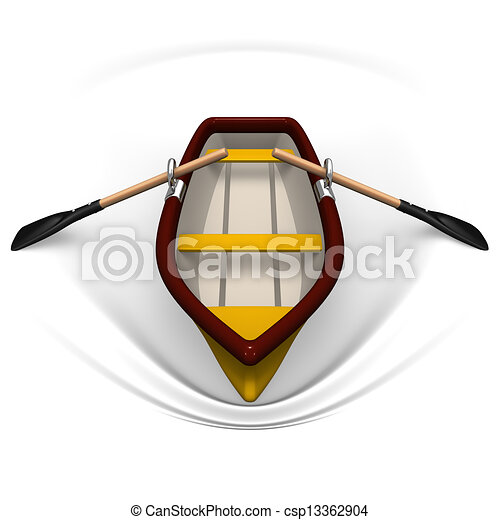 Row Boat Illustration Row Boat Front View 3d Render