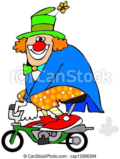 clown auf fahrrad