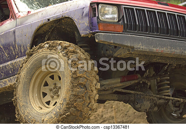Detailed view at US off-road car - csp13367481