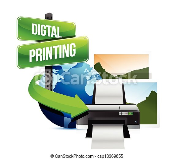 Clipart Vector of digital printing concept illustration ...