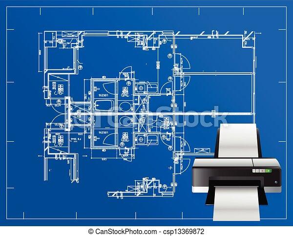 Vectors illustration of printer blueprint illustration Print blueprints
