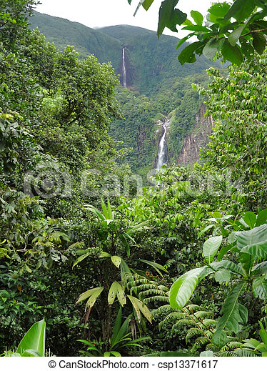 caribbean waterfall - csp13371617