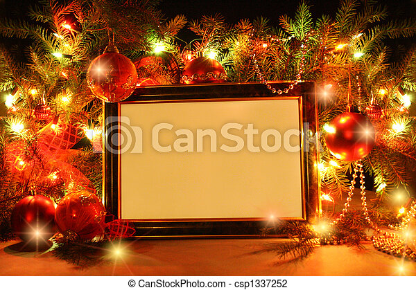 Christmas lights frame - csp1337252