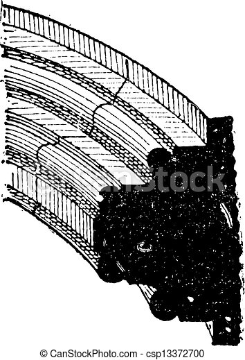 Rib of a Gothic Vault, vintage engraving