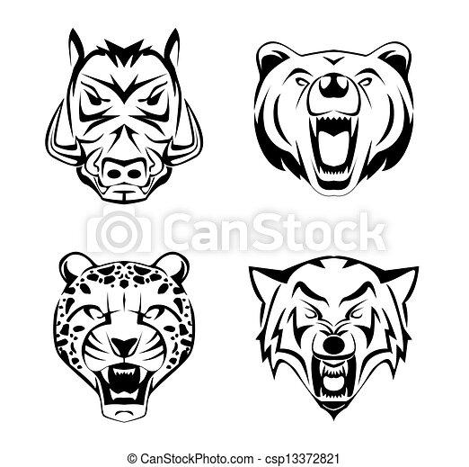 Animal Head set tattoo - csp13372821