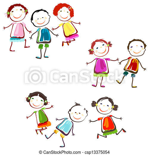 Clipart Vector of happy children - group of happy children playing ...
