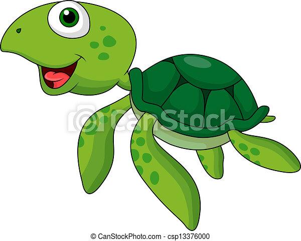 Vector Clip Art de tortuga, lindo, caricatura, mar - vector ...
