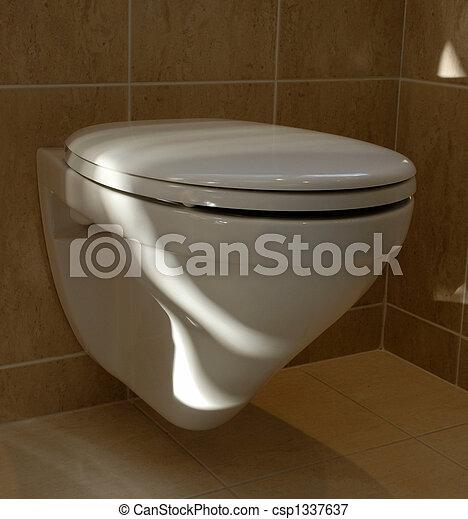 Plaatje van muur gemonteerd wc met zanderig gekleurd tegels csp1337637 zoek naar stock - Muur wc ...