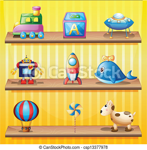 Vectors Illustration of Toys arranged neatly in the wooden shelves ...