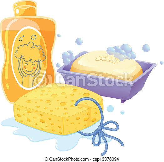 A sponge, a soap and a shampoo - csp13378094