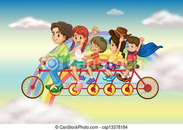 Vettore famiglia bicicletta gruppo persone for Bicicletta per tre persone