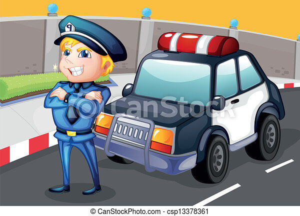 Vector - A smiling policeman standing in front of a police car - stock ...