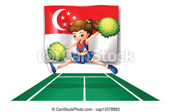 A cheerleader with green pompoms and the flag of Singapore - csp13378882