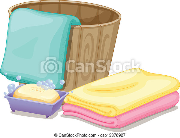 Vector Illustration Of A Pail With Towels And A Soap In A