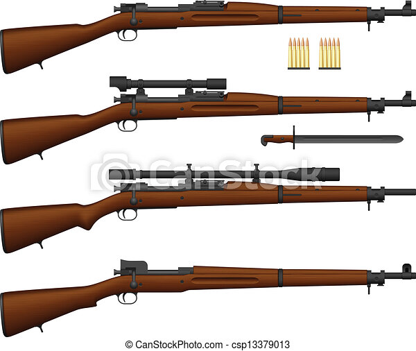 Vector Clip Art of Rifle - Layered vector illustration of ...