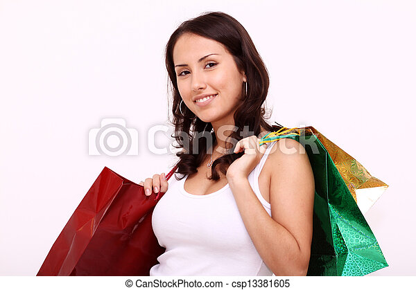 portrait of one happy young adult girl with colored bags  - csp13381605