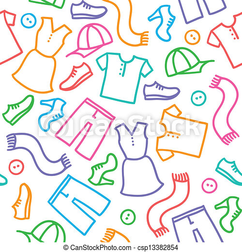Clothes Clipart Vector pattern with clothes