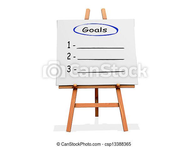 Art Easel Flow Chart Goals - csp13388365