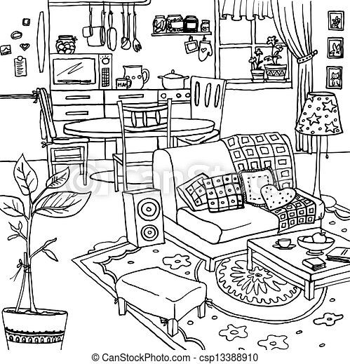 Black White Drawing Messy Room