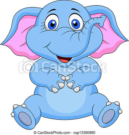 Cute baby elephant cartoon - csp13390880