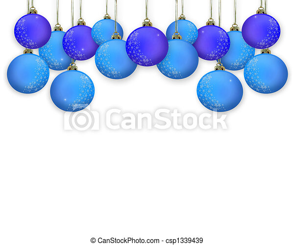 Christmas border blue ornaments stock illustration royalty free
