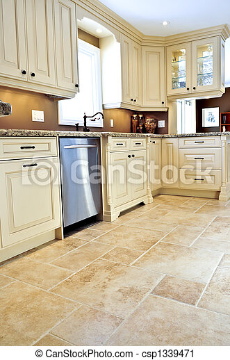 Tile floor in modern kitchen - csp1339471