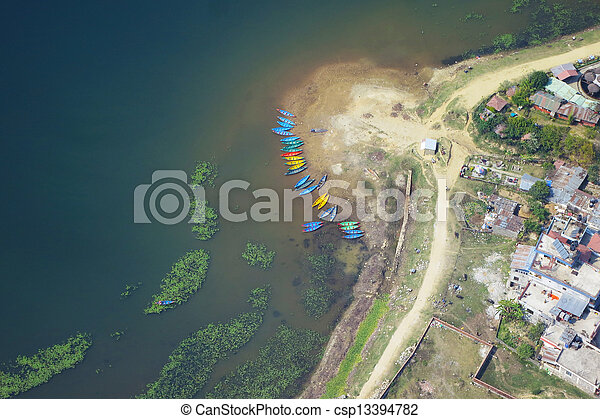 Phewa lake aerial view in Pokhara - csp13394782