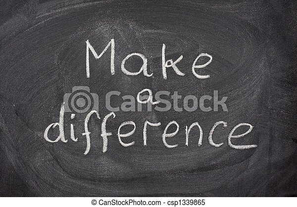 make a difference phrase on blackboard - csp1339865