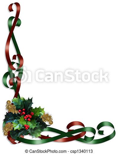Christmas Border Ribbons and Holly - csp1340113