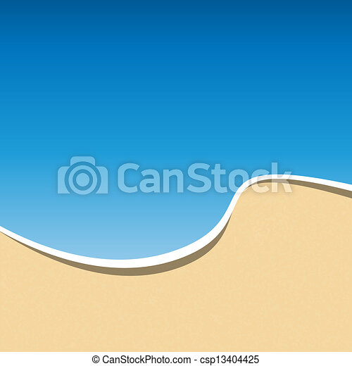 Summer Holidays Card Template. Sea Beach Background. Vector - csp13404425