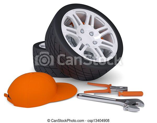 Car wheel and tools - csp13404908