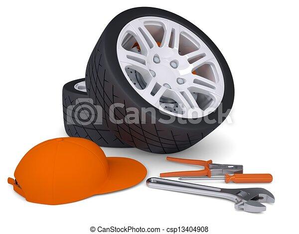 Car wheel and tools - csp13404908