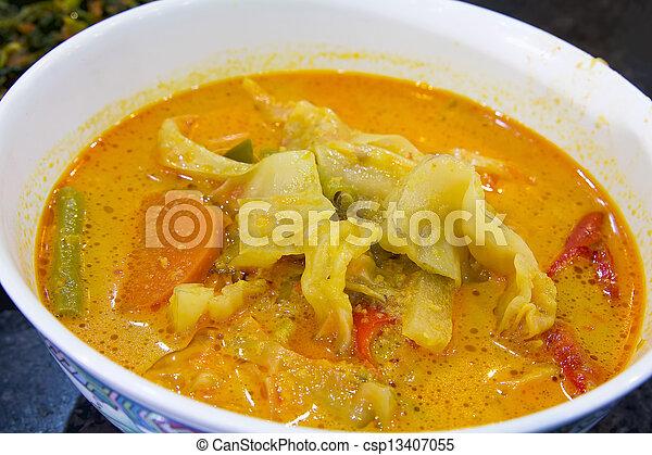 Nonya Sayur Lodeh Vegetable Soup Dish Closeup - csp13407055