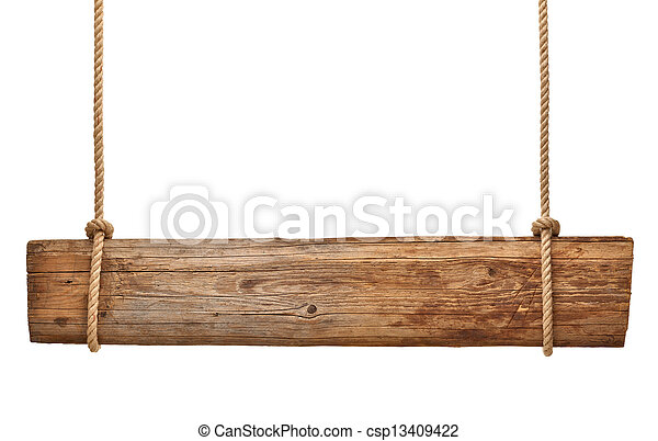 wooden sign background message rope hanging - csp13409422